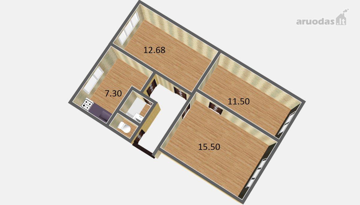 Kaunas, Panemunė, Kampiškių g., 3 kambarių butas
