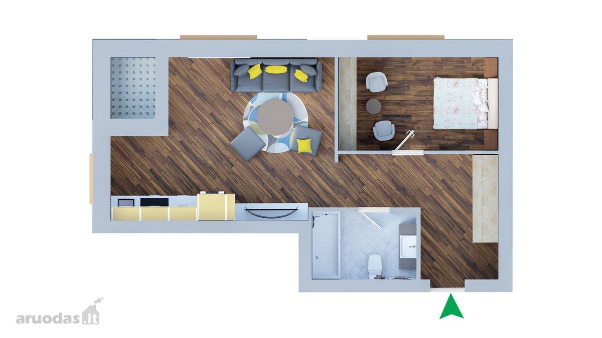 Klaipėda, Senamiestis, Jūros g., 2 kambarių butas