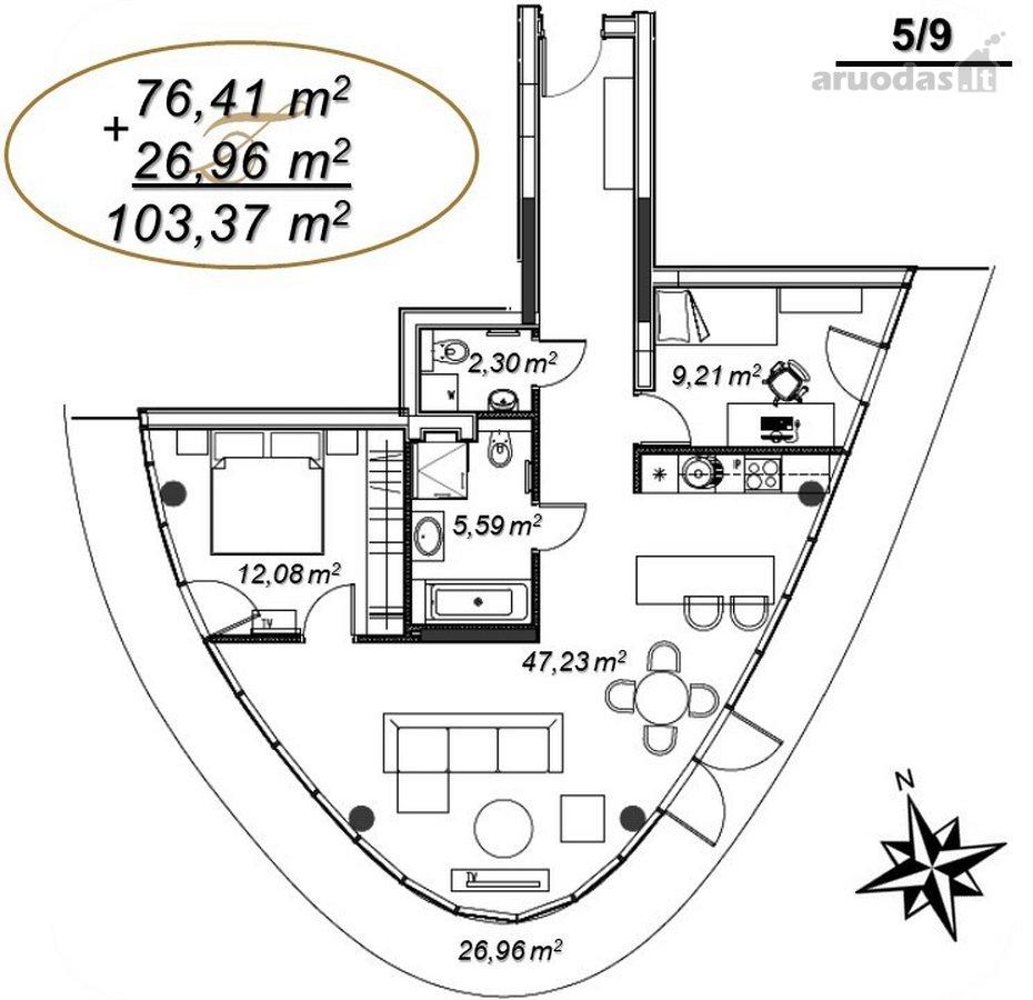 Druskininkų m., V. Kudirkos g., 3 kambarių butas
