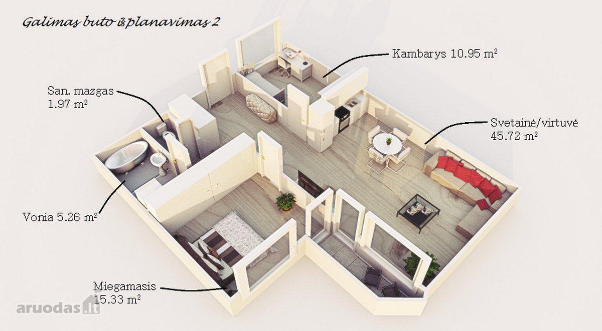 Vilnius, Santariškės, Mykolo Marcinkevičiaus g., 3 kambarių butas