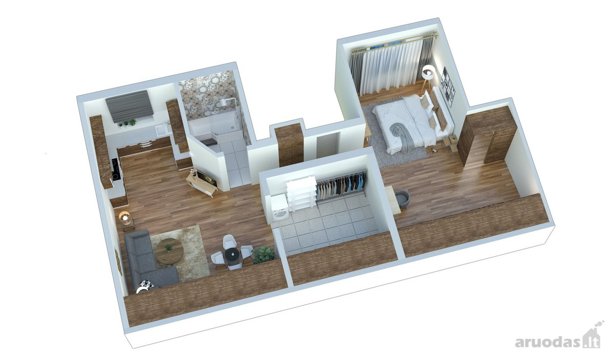 Panevėžys, Centras, Ukmergės g., 2 kambarių butas