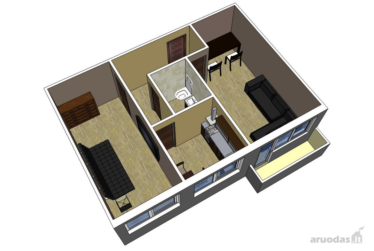 Kaunas, Žaliakalnis, Taikos pr., 2 kambarių butas