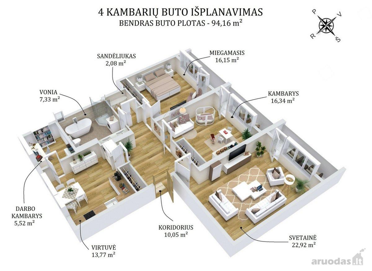 Vilnius, Šnipiškės, Šeimyniškių g., 4 kambarių butas