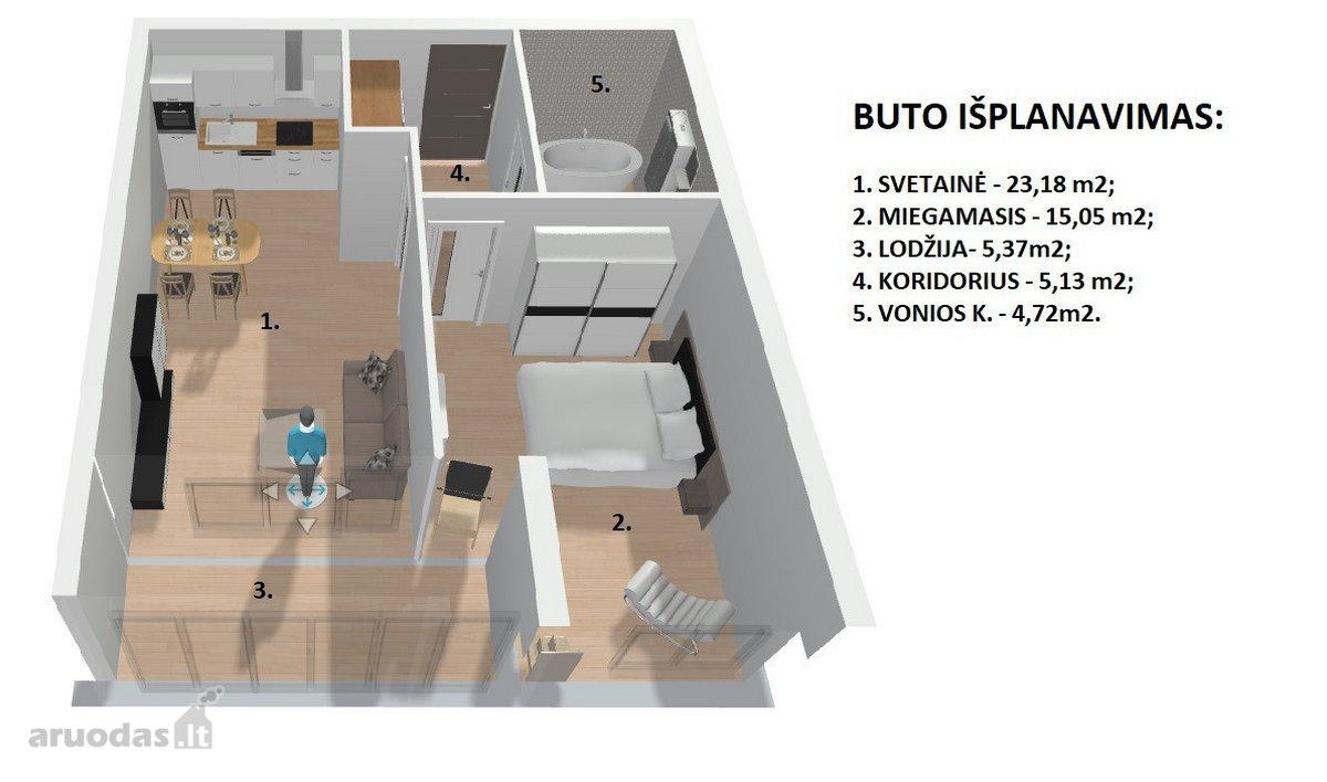 Vilnius, Tarandė, Tarandės g., 2 kambarių butas