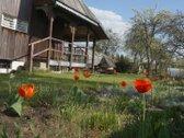 Parduodamas tvarkingas sodas su nameliu.